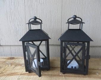 One Square Mini Dark Brown Lantern table decoration  - 3.5 in x 3.5 in x 6.7 in  - wedding reception, centerpiece, favor
