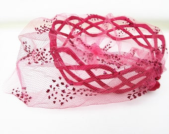 Vintage Pink Hat | Pill Box Hat | Birdcage Veil | 1950s Ladies Hat | Fascinator Hat