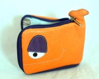 Halloween Whale wallet, orange leather, Ooak