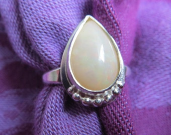 Rosy White Opal Teardrop in Granulated Argentium Ring Size 6 & a Half