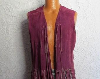 70's Vintage Men's  Purple Fringe Leather Vest sm/med.