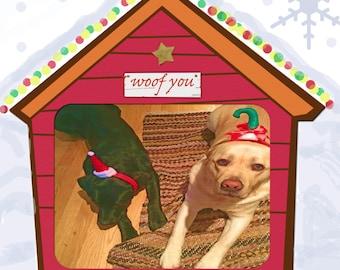 Labrador Christmas Card Black Lab and Yellow Lab wish you Merry Christmas
