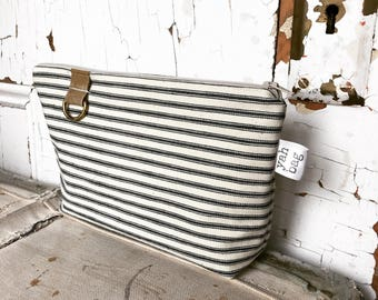 LOOP - reconstructed vintage ticking zippered pouch