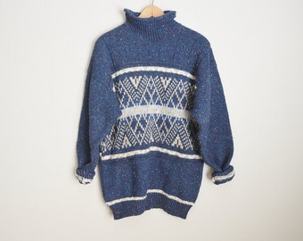 Vintage 80s SOUTHWEST speckled Blue TRIBAL Slouchy Oversized Winter Wool Blend Boyfriend Sweater // womens medium