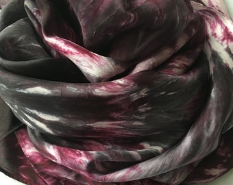 Silk Scarf, Maroon and Black Scarf, Hand Dyed Scarf, Black and Burgundy Scarf,  Shibori Scarf, Christmas Gift for Her, Fashion Accessory