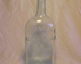 c1890s Burnham's Beef Wine & Iron , Cork Top Aqua Glass Patent Medicine bottle