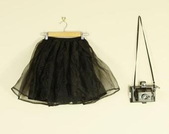 Black Flippy TuTu Mini Skirt High Waist Festival Hippy A