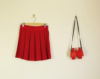 Vintage Red Pleated High Waist Skirt 90s Pin Up Twin Peaks Cheerleader D