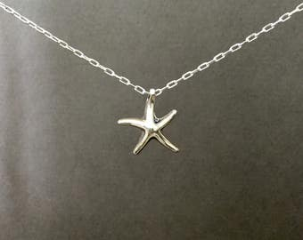 Starfish necklace, sterling silver starfish on sterling silver chain, resort jewelry, small starfish charm necklace, sea life necklace N283S