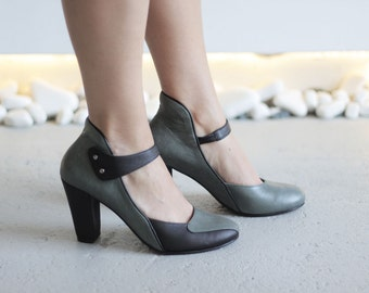 GRIZABELLA - Black and Green - Maestory by Keyman Design - FREE SHIPPING Handmade Shoes 2016-2017 Winter Collection