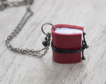 Miniature book necklace, mini book jewelry, book literature pendant, for teacher librarian book lover coworker book worm book club