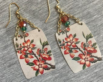 Asian Inspired Ornage and Green Floral Recycled Tin Beaded Earrings