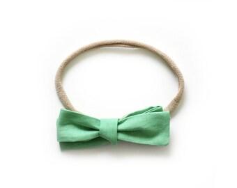 Cactus Green Bow - Hand Tied Bow Headband - Kids Headband