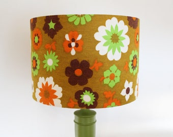 Vintage Fabric Lampshade - Brown, Orange & Lime Green 1960s Fabric -  Small Size - Handmade
