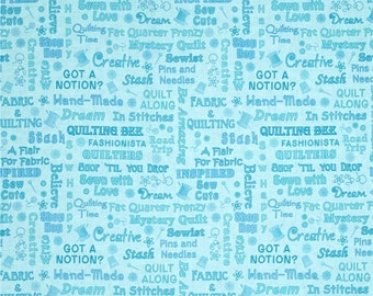 Quilting Shop Hop Sewing Quilting Terms Blue premium cotton fabric by Bonnie Krebs for Henry Glass - sold per yard