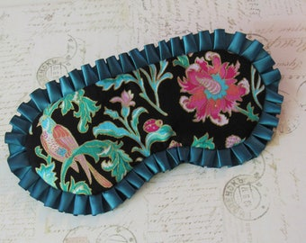 Metallic Bird and Floral Sleep Mask // Cotton & Satin Eye Mask, Ruffles
