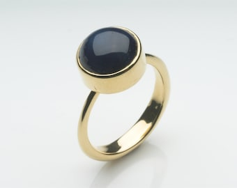 blue star sapphire and 18 ct gold ring medieval influenced gold ring non - Non Traditional Wedding Rings