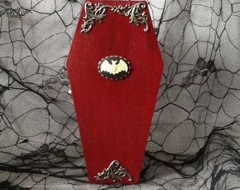 Red Wood Bat Cameo Goth Coffin Box