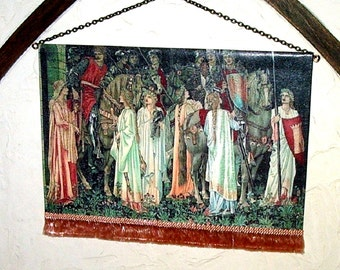 Holy Grail Quest Tapestry, Medieval Dollhouse Miniature, 1/12 Scale, Hand Made, LG