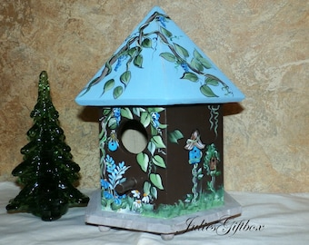 Hand Painted Bird House - Indoor Decorative Painted Birdhouse - Dark Brown, Light Blue-Light Weight - Ready To Ship