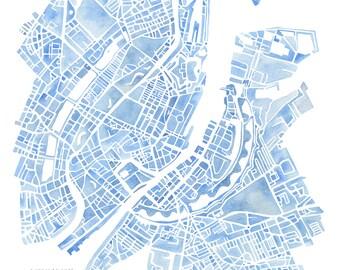 Copenhagen Denmark watercolor map