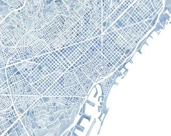 Barcelona Spain watercolor map