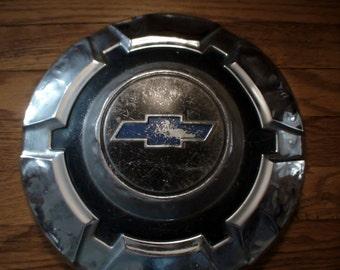 "1969 Chevy C20 12"" Dog Dish Blue Bow Tie Hub Cap, Patina, Truck 1970 1971 1972"
