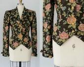 vintage floral blazer / brown and metallic gold blazer with pink roses / Doncaster / large