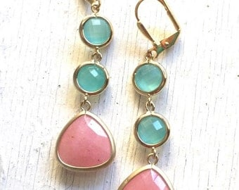 Long Coral Pink and Aqua Jewel Dangle Earrings in Gold. Gift. Bridesmaid Earrings. Drop Earrings. Jewelry. Gift for Her.
