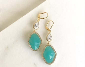 Turquoise Bridal Earrings. Turquoise and Cubic Zirocnia Bridal Earrings in Gold. Wedding Jewelry.