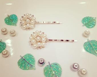 Vintage Pear and Rhinestone Hair Pins, Bridal Hair Pins, Bobby PIns, Vintage Bridal Hair Pin Set, Pearl Bobby Pins