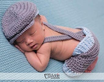 Newborn Baby Shorts with Golfers Cap and Bow Tie, Photo Prop, Baby Boy Shorts with Bow Tie, Suspenders and Hat, Newborn Boy Outfit