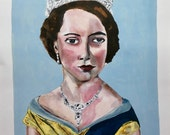 "ART PRINT signed limited edition of original painting 11"" x 14"" // Queen Elizabeth no. 5 // portrait painting // illustration on paper"