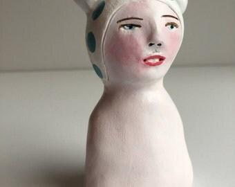 Original clay sculpture // Snowball no. 1 // clay figurine // art doll bust figure // totem
