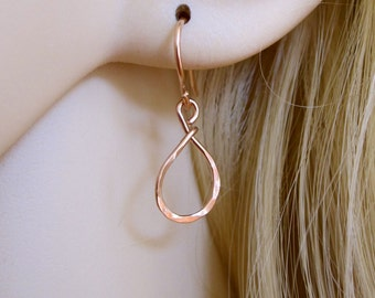 Small TEARDROP sterling silver, yellow or rose gold filled wire dangle earrings, bridesmaid gift