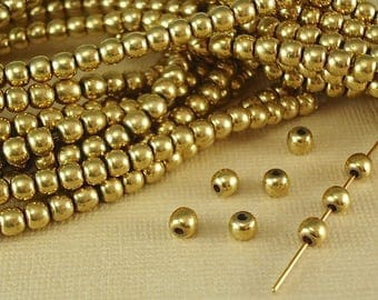 20 Solid Brass Raw 4mm Round Shiny Polished Seamless Spacer Quality Jewelry Brass Natural Metal Beads with an antique look to the Brass