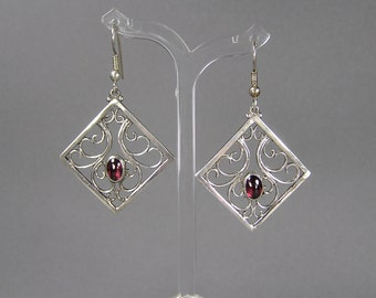 Retro Garnet Earrings, Filigree Style, Sterling Silver, New Old Stock, Boho, Hippie, Art Nouveau Revival, Vintage Jewelry