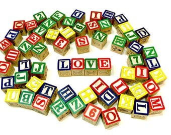 64 Wooden Alphabet Blocks - Vintage Children's Toys - Letters Numbers Pictures - Wood Crafts