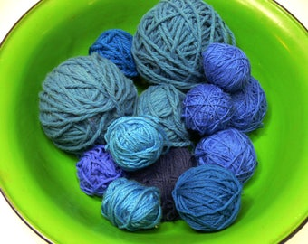 Blue Yarn Balls for Knitting & Crafts - Destash Cotton and Mixed Fibers and Hues - 1 Pound