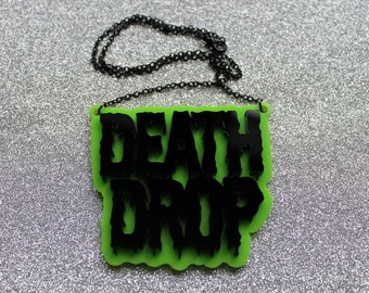 Death Drop lime green and black pendant on black chain necklace- Inspired by Laganja