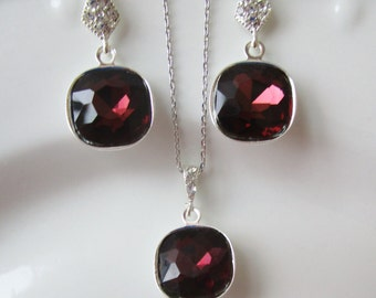 Bridesmaid Jewelry Set, Burgundy Earrings, Burgundy Necklace, Marsala Bridesmaid Jewelry,Mother of the Bride Gift, Mother of the Groom Gift
