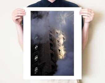 New York City photography. Manhattan artwork, NYC steam fine art photograph. Street scene photo, city decor loft art. Large format print