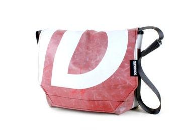 Messenger Bag made from Upcycled Truck Tarp, Water resistant Laptop Bag, Courier Bag, Satchel, Shoulder Bag (Q06)