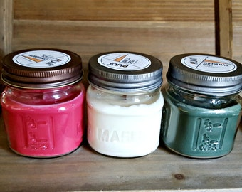 Christmas Candles Mason Jar Holiday Candles Scented Soy Candles Wood Wick Festive Holiday Gift FREE SHIPPING Pine, Cinnamon, Vanilla candle