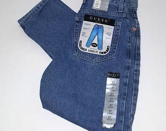 Vision Quest ... vintage 90s Guess jeans / 1990s mom denim / high rise waist waisted / deadstock NOS ..  27/30 waist 25 26