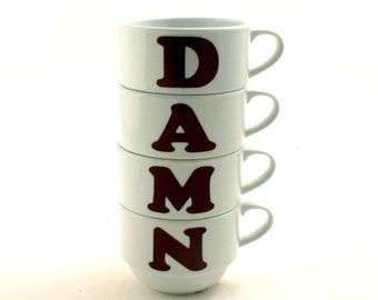 4 Damn Stacking Stackable Cups Porcelain Coffee Tea Letter Gag Gift Fun Mature Language Adult Offensive 2 Variations Sizes Funny Rude Swear