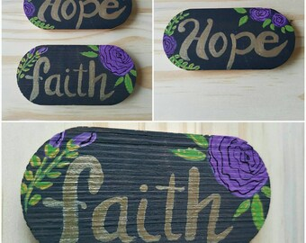 Fridge Magnets - set of 2  FAITH  HOPE, handpainted, flat sheet magnet on back, fridge decor, home decor, OOAK, handmade, thoughts and words