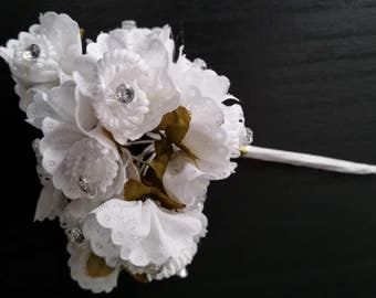 Rhinestone studded White flowers craft silk floral supply Bridal accessories for making hair combs wreath supplies corsages flower crowns