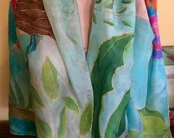 "Handpainted Medium Summer Silk Pareo/Shawl by The Silk Maid ""Hula Girls"""