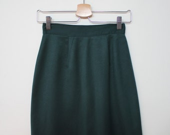 Vintage 80s Straight Forest Green Skirt XS/S